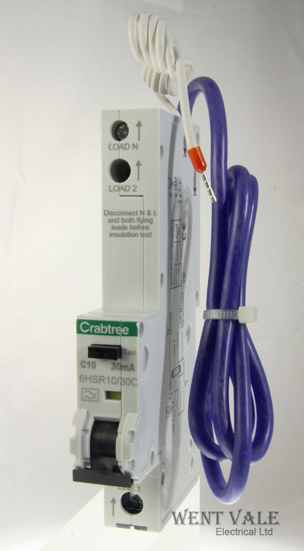 Crabtree Loadstar - 6HSR10/30C - 10a 30mA Type C Single Pole RCBO Unused